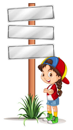 sign road: Little girl standing by the road signs illustration Illustration