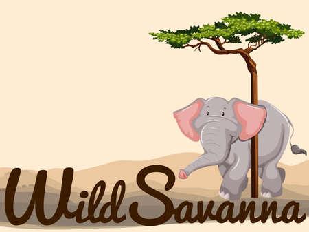 Wild elephant in savanna illustration Ilustrace