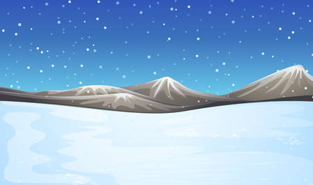 Field covered with snow illustration