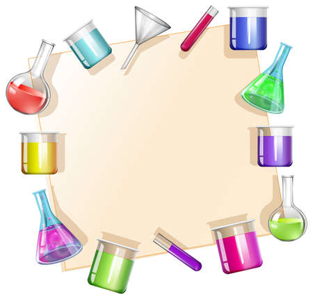 beakers: Border with beakers background illustration