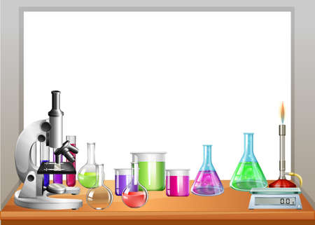 science text: Chemistry equipment on table illustration