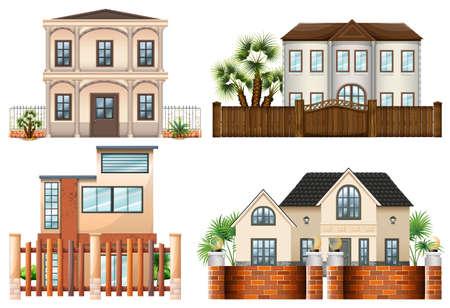 Verschillende sytle huizen illustratie