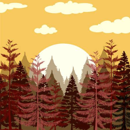 pine forest: Pine forest at sunset illustration Illustration