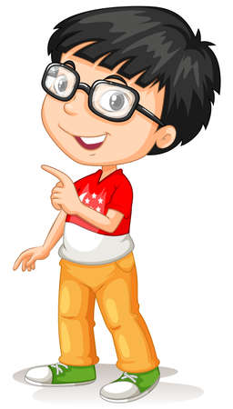 Asian boy wearing glasses illustration Çizim