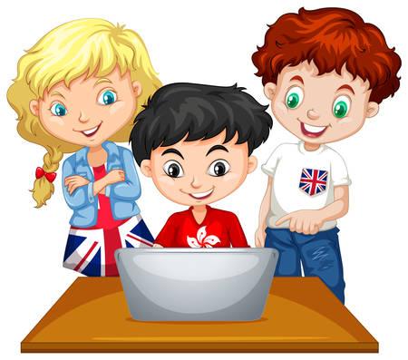 Children looking at computer  illustration Illustration