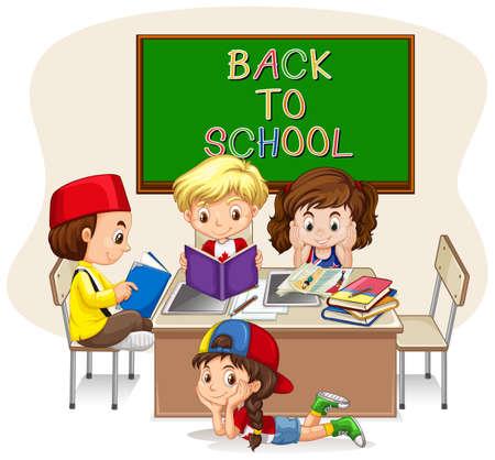 niños jugando caricatura: Niños que hacen el trabajo escolar en la ilustración aula Vectores