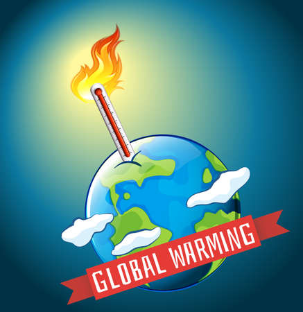 hot temperature: Global warming with hot temperature illustration