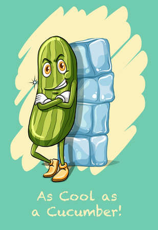 figurative: Idiom as cool as cucumber illustration