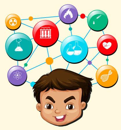 dna smile: Boy with science symbols on his head illustration Illustration
