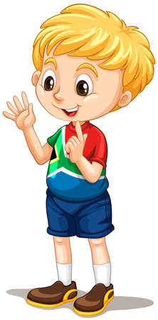 South African boy counting with fingers illustration Vettoriali