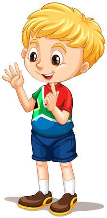 niño parado: Sudáfrica conteo muchacho con los dedos ilustración Vectores