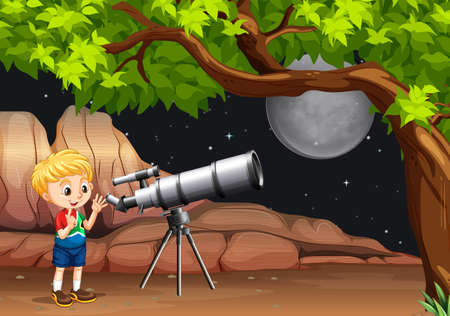telescope: Boy looking through telescope at night illustration Illustration