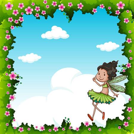 fairy: Green fairy flying in the sky illustration Illustration