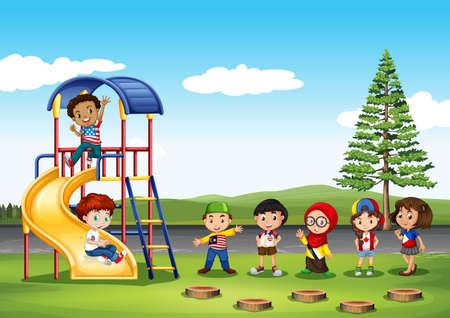 children: Дети играют в парке иллюстрации