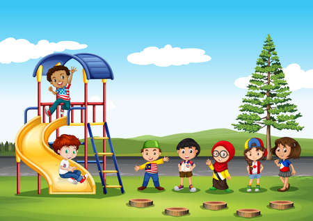 play boy: Children playing in the park illustration