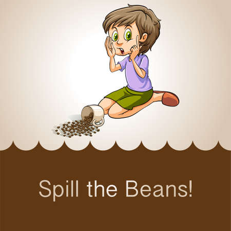 coffee spill: Idiom spill the beans illustration