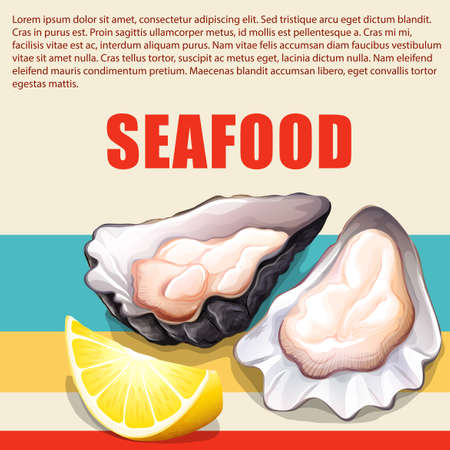 raw material: Oysters and lemon on seafood poster illustration