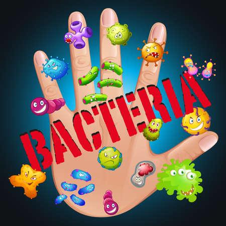 bacteria: Bacteria in human hand illustration