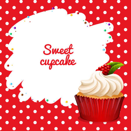 rasberry: Cupcake with rasberry topping illustration Illustration