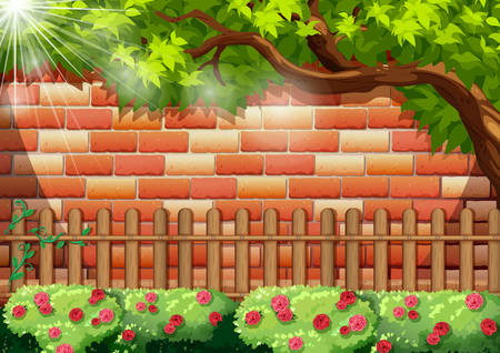 bakstenen muur: Brick wall and wooden fence illustration Stock Illustratie