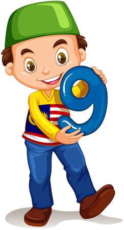 numero nueve: Niño sosteniendo número nueve ilustración Vectores
