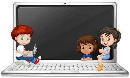 Children and laptop computer illustration Illustration