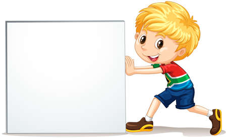 Little boy pushing blank sign illustration Иллюстрация