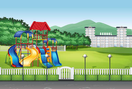 toys clipart: Playground in the middle of the field illustration
