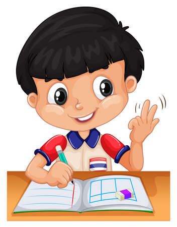 Little boy counting with fingers illustration