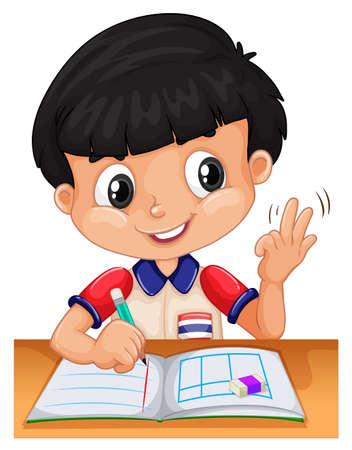 tarea escolar: Niño pequeño que cuenta con los dedos ilustración Vectores