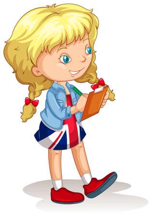 blond girl: Blond girl writing notes illustration