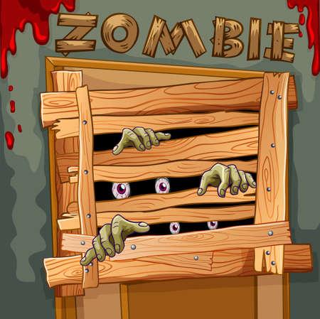 Zombie behind the wooden door illustration