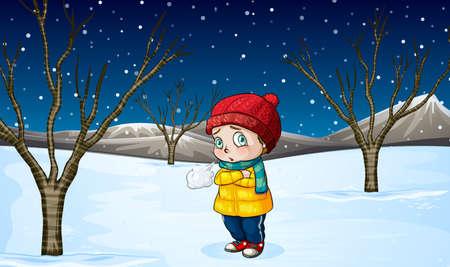 meteo: Bambina in piedi nella neve illustrazione