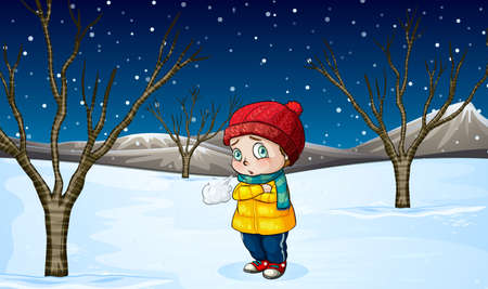male teenager: Little girl standing out in the snow illustration Illustration