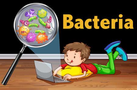 bacteria: Bacteria on computer laptop illustration Illustration