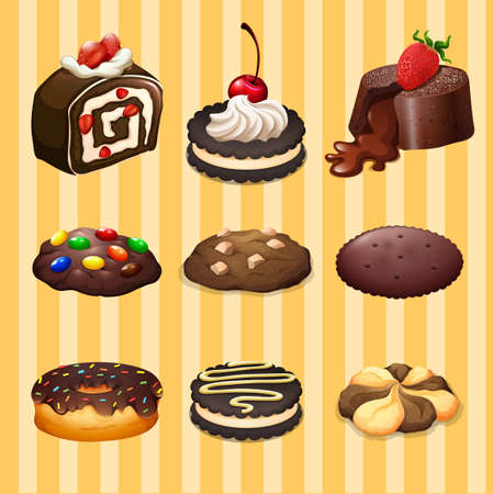 junkfood: Different kind of dessert chocolate flavor illustration