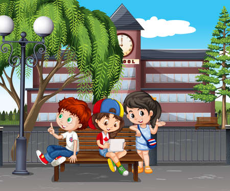 college students campus: Children hanging out at the school illustration Illustration