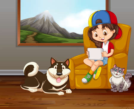 lounge room: Little girl on sofa with pet dog and cat illustration Illustration
