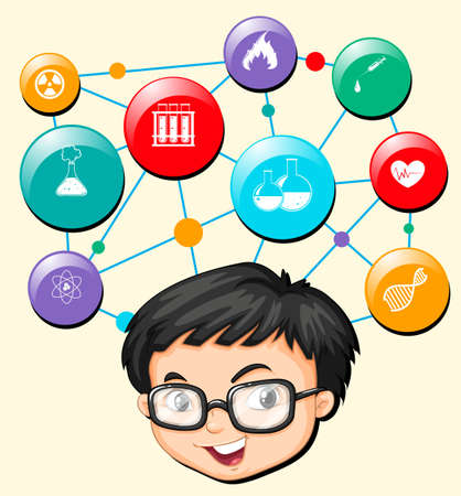 boy with glasses: Boy with glasses and science symbols illustration
