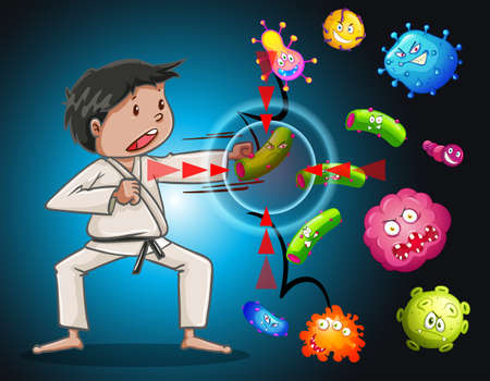 fight disease: Man in karate clothes fighting bacteria illustration Illustration