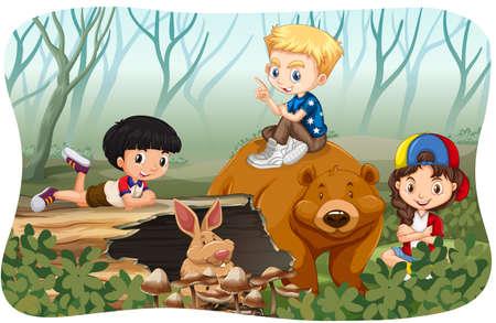 wild living: Children and wild animals in jungle illustration Illustration
