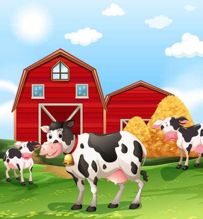 farmland: Cows in the farmland illustration