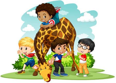 international students: Children playing with giraffe illustration