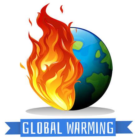 불꽃 그림에 지구와 지구 온난화