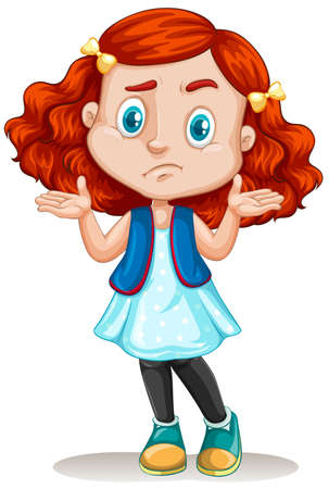 concerned: Little girl with red hair illustration