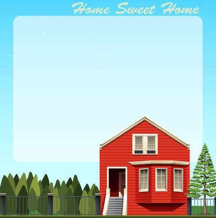 residental: Home sweet home with red house illustration Illustration