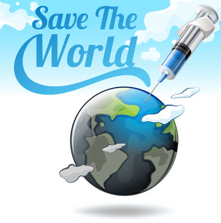 mundo contaminado: Guarde el cartel de mundo con la tierra y la ilustración de la aguja Vectores