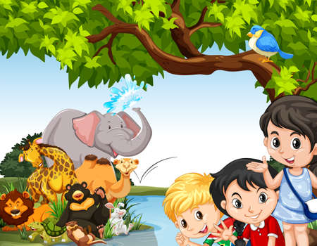 animals in the wild: Children and wild animals by the pond illustration Illustration