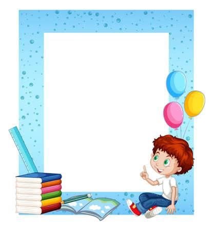 kid illustration: Little boy and books around border illustration