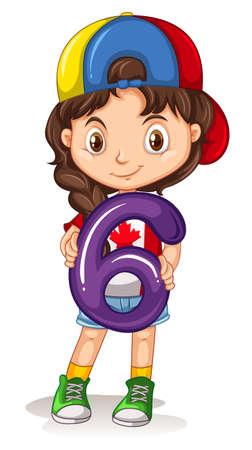 Little girl holding number six illustration Illustration